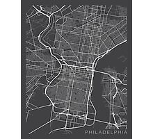 Philadelphia Map, USA - Gray Photographic Print