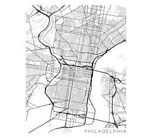 Philadelphia Map, USA - Black and White Photographic Print
