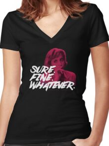 Sure. Fine. Whatever. (Pink) Women's Fitted V-Neck T-Shirt