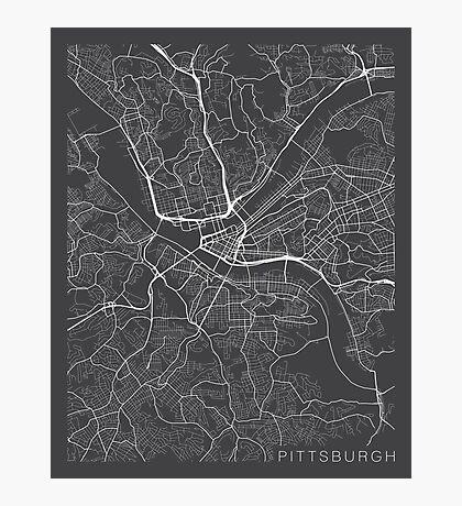 Pittsburgh Map, USA - Gray Photographic Print