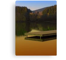 Romantic evening at the lake V | waterscape photography Canvas Print