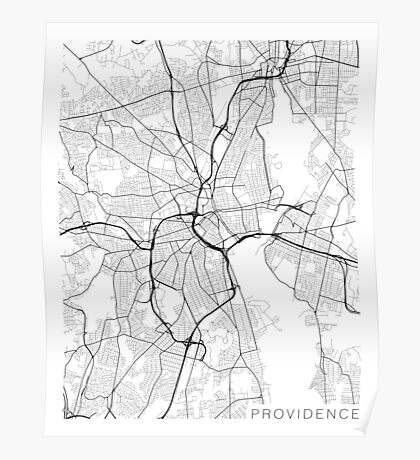 Providence Map, USA - Black and White Poster