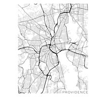 Providence Map, USA - Black and White Photographic Print