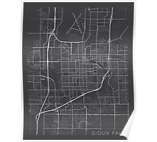 Sioux Falls Map, USA - Gray Poster