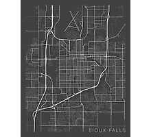 Sioux Falls Map, USA - Gray Photographic Print