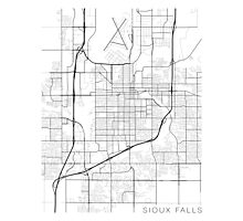 Sioux Falls Map, USA - Black and White Photographic Print