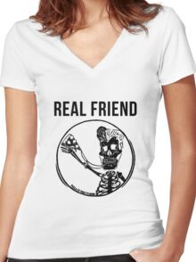 real friends Women's Fitted V-Neck T-Shirt