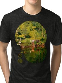 Green life, a river and reflections | waterscape photography Tri-blend T-Shirt