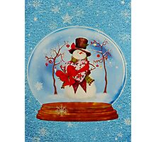 Snowman in a Snowglobe Photographic Print