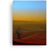 Haze, sunset and city skyline | landscape photography Canvas Print