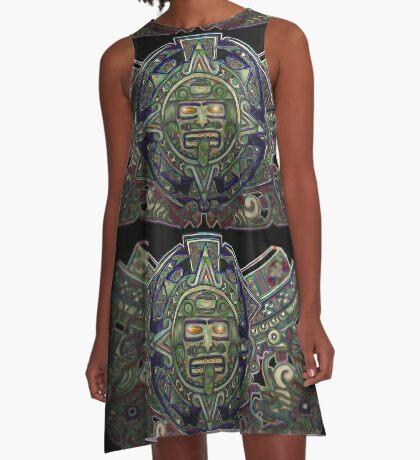"""Ojos Dorados del Sol Azteca"" A-Line Dress"