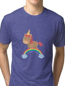 unicorn silly but happy Tri-blend T-Shirt