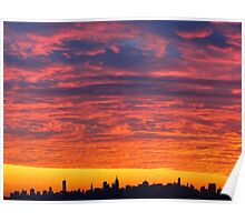 Sunset skies over New York City  Poster