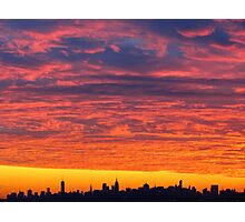 Sunset skies over New York City  Photographic Print