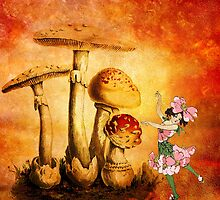 PINK PETALS AND ORANGE MUSHROOMS 3 by Tammera