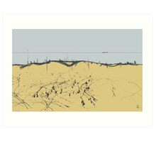 sandy shore. black sea Art Print