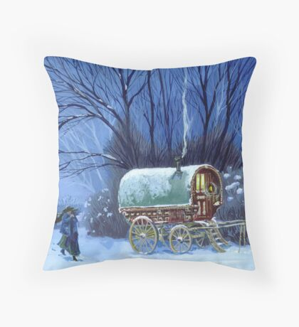 Snowy night Throw Pillow