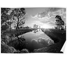 Reflections on irrigation channel - Tongala Victoria Australia Poster