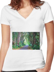 Forest Path Women's Fitted V-Neck T-Shirt