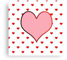 Pink heart and red hearts Canvas Print