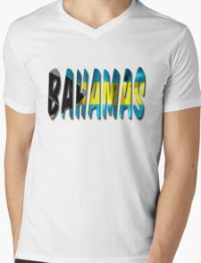 Bahamas Word With Flag Texture Mens V-Neck T-Shirt