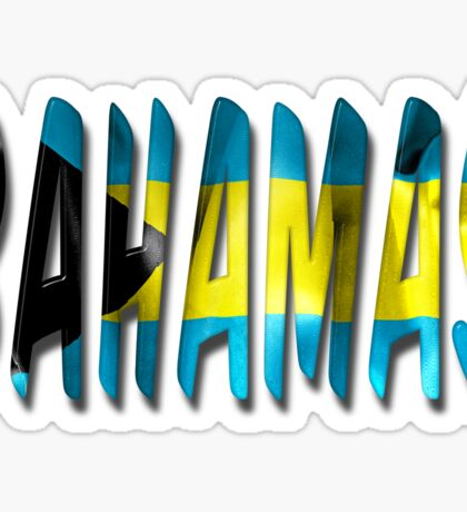 Bahamas Word With Flag Texture Sticker