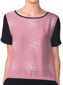 Butterfly on pink Chiffon Top