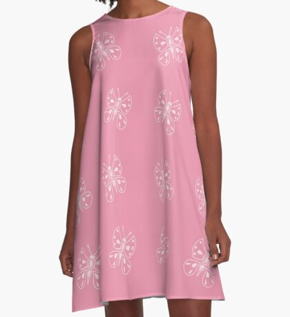 Butterfly on pink A-Line Dress