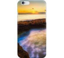 Curved rock and abstract waters at dawn iPhone Case/Skin