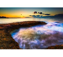 Curved rock and abstract waters at dawn Photographic Print