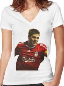 steven gerrard goal Women's Fitted V-Neck T-Shirt