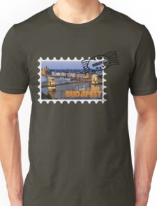 Old tourism postcard stamp - Visit Budapest Hungary Unisex T-Shirt