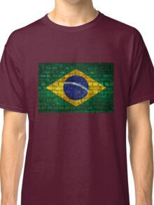 Brazil flag painted on a brick wall in an urban location Classic T-Shirt