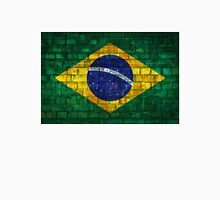 Brazil flag painted on a brick wall in an urban location Unisex T-Shirt