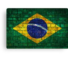 Brazil flag painted on a brick wall in an urban location Canvas Print