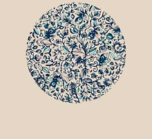 Teal Garden - floral doodle pattern in cream & navy blue T-Shirt