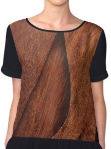 Beautiful Unique brown wood inlay marquetry veneer design Chiffon Top
