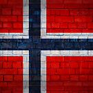 Norway flag on a brick wall surface by E ROS