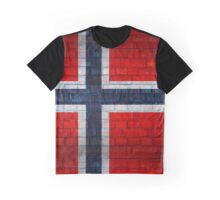 Norway flag on a brick wall surface Graphic T-Shirt