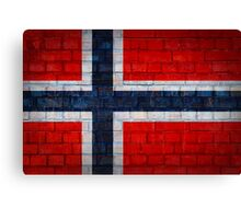 Norway flag on a brick wall surface Canvas Print