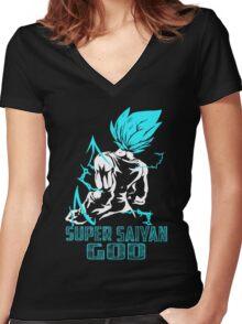 Super SaiYan God Women's Fitted V-Neck T-Shirt