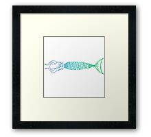 Mermaid Linework Framed Print