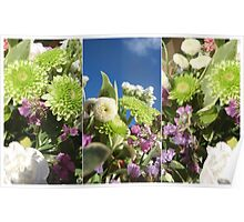 Green White and Purple Flowers Poster