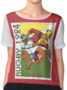 Retro rugby 1924 vector art Chiffon Top