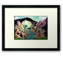 Dragon volant - Landscape Framed Print