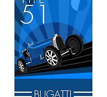 Poster artwork - Bugatti Type 51 by RJWautographics