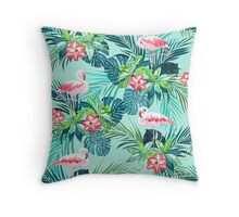 Bright green flamingos Throw Pillow