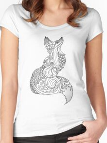 Royal fox in Black and White Women's Fitted Scoop T-Shirt