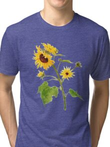 sunflower watercolor painting  Tri-blend T-Shirt