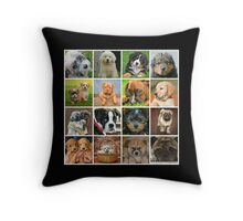 Puppy Dog Collage Throw Pillow